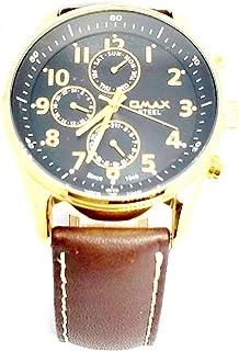 ساعة يد للرجال من اوماكس - رياضية، متعددة الألوان، مينا سوداء - سوار من الجلد - مقاومة للماء - Beeb1238