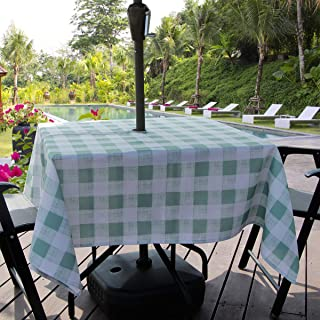 Aoohome Outdoor and Indoor Square Table Cloth with Zipper, Stain Free Water Repellent Check Tablecloth for Patio Garden Tabletop Décor, Iron Free, Machine Washable, Heavy Duty, 60 x 60 Inch, Green