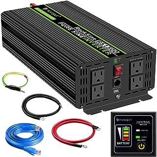 novopal Power Inverter Pure Sine Wave-1500 Watt 12V DC to 110V/120V AC Converter- 4 AC Outlets Car Inverter with One USB Port-16Ft Remote Control And Two Cooling Fans-Peak Power 3000 Watt