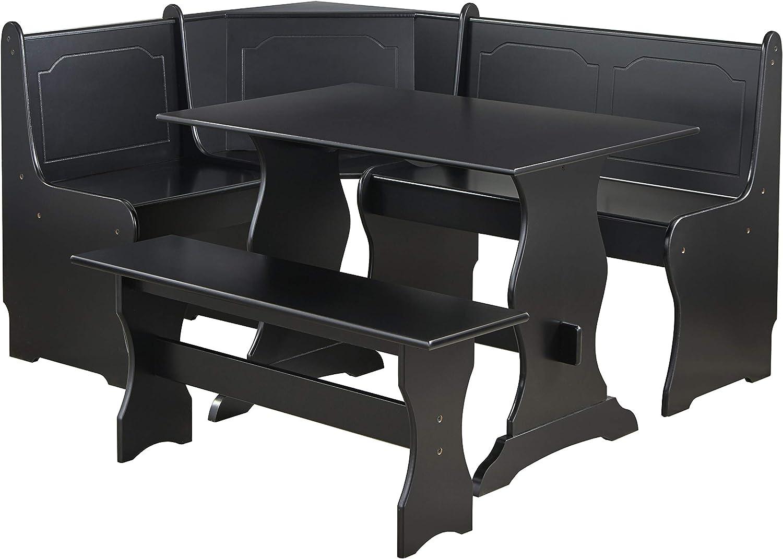 Amazon Com Target Marketing Systems Traditional Style 3 Piece Nook Corner Dining Set Seats 6 Black Furniture Decor
