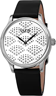Burgi Swarovski Crystals Women's Watch - Sparkling Dial in a Beautiful Fan Pattern Women's Watch – Bright Colored Leather Strap - BUR238