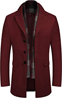 Liengoron Mens Classic Winter Notched Collar Single Breasted Quilted Wool Midi Coats