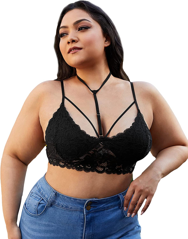 SOLY HUX Women's Plus Size Floral Lace Scalloped Trim Choker Strappy Bralette Bra