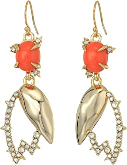 Alexis Bittar Crystal Encrusted Abstract Tulip Drop Wire Earrings