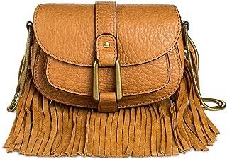 DV Women's Faux Leather Crossbody Handbag with Flap Closure