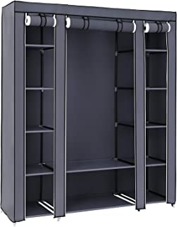 """House of Quirk 70"""" Portable Clothes Closet Home Wardrobe Clothes Storage Organizer with 12 Shelves -(Grey)"""