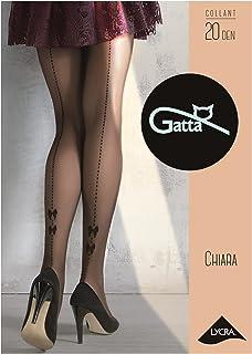 Gatta Chiara 04-20den Feinstrumpfhose mit Naht schwarze transparente Strumpfhose gepunktete Naht mit Schleifen Printmuster
