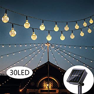 Starry Octopus Solar String Lights 20 Feet 30 LED Outdoor Solar Lights with 8 Modes, Waterproof Crystal Ball String Lights for Wedding Christmas Camping RV Garden Patio Bistro Backyard (Warm White)