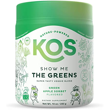 KOS Super Greens Powder - Spirulina, Chlorella, Wheatgrass Powder - Digestive Enzymes, Probiotics, Immune Support - Refreshing Green Apple Sorbet Flavor, 30 Servings