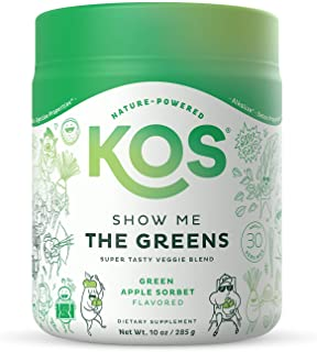 KOS Organic Super Greens Powder, 30 Servings - Refreshing Green Apple Sorbet Flavor - Fruit & Vegetable Superfood Suppleme...