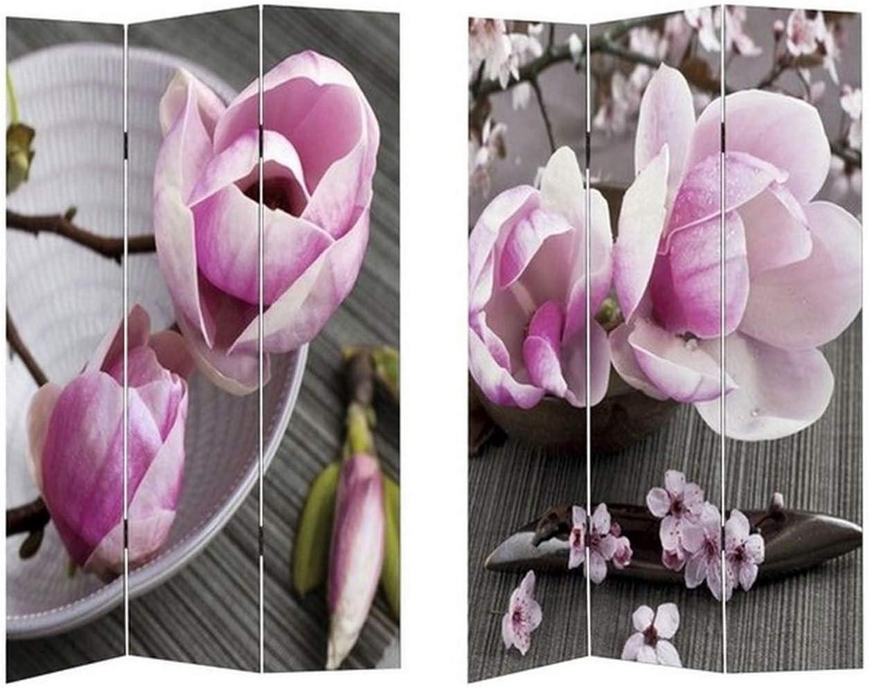 HTI-Line Paravent Natur Flower