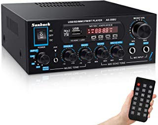 Wireless Bluetooth Audio Amplifiers, Sunbuck 200W Power Home Stereo Amplifier Receiver, with USB, SD Card, FM Radio, Remot...