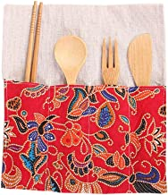 BESTONZON 4Pcs Bamboo Cutlery Set Travel Flatware Cutlery Set Forks Spoons for Party Dinner Barbecue (Spoon Fork Cutter and Cloth Bag)