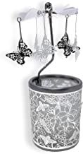 Butterfly Candle Holder - Silver Metal Rotating Spinning Butterflies with Flowers and Bees - Spinner Scandinavian Designs - 6 ¼ Inch Tall
