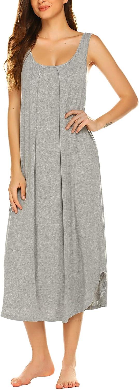 Ekouaer Tank Nightgown for Women Tank Dress Sleepwear Soft Nightgown Loose Tank Sleepdress Sleeveless Sleepshirt S-XXL