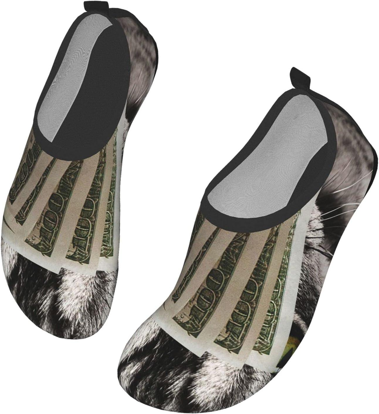 Womens Mens Summer Water Shoes Cat Money Funny Dollars Cats Barefoot Shoe Quick Dry Aqua Socks