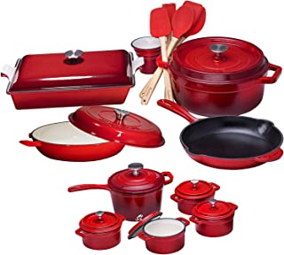 Pre Seasoned Cast Iron 6 Piece Bundle Gift Set, Double Dutch, Multi Cooker, Skillet & Square Grill Pan, Camping Cookware Set (22pc Enameled)