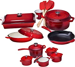 Enameled Cast Iron 22 Piece Gift Set, Dutch oven with lid, sauce pan, Braiser Pan skillet, 5 silicone and wooden utensils, cutlery holder, rectangular baking dish with lid, 4 mini cocottes with Lids