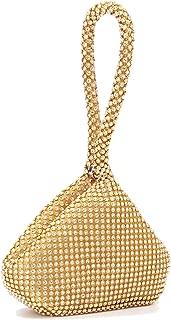 Women's Rhinestone Evening Bag Sparkly Triangle Chain Clutch Wrist Purse Handbag for Party Prom Wedding