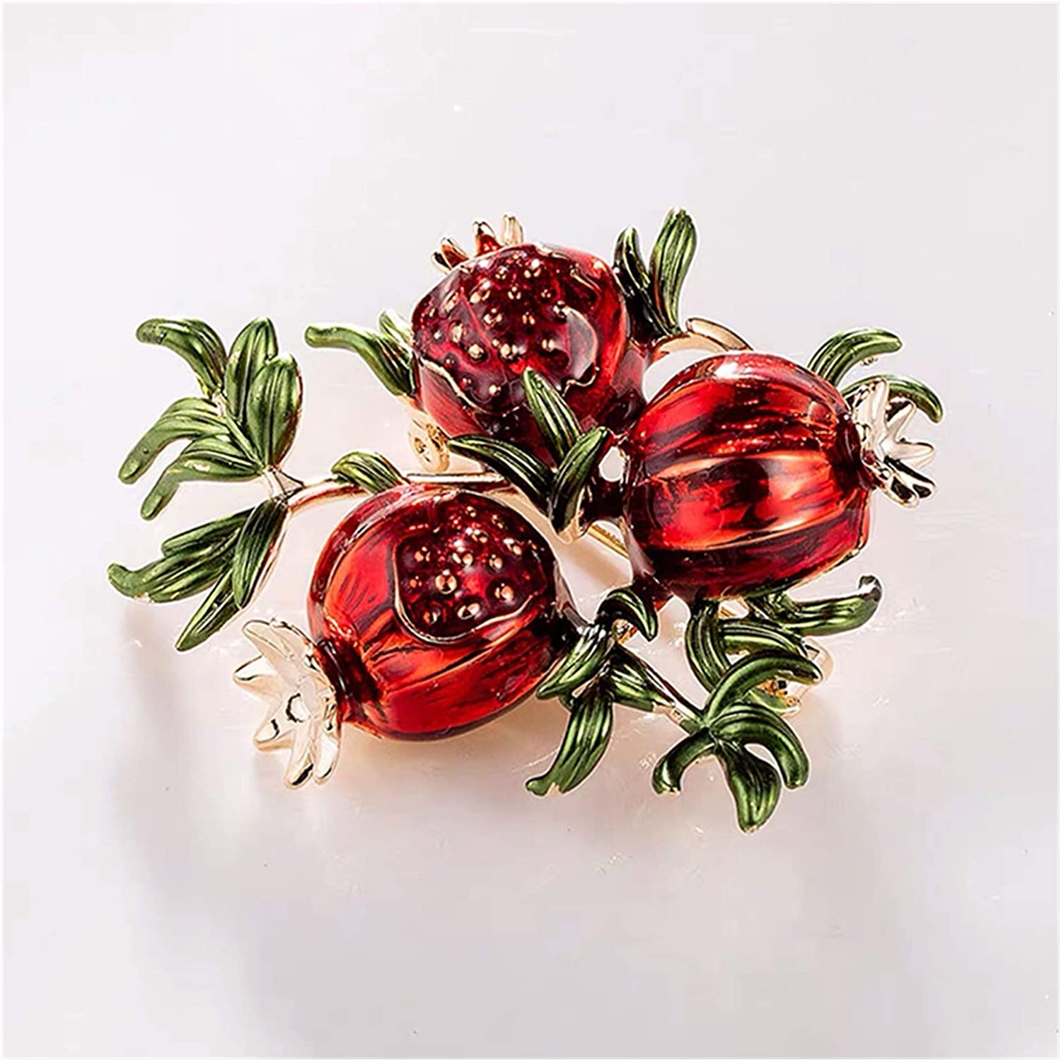 Jiaye Brooch Red Enamel Pomegranate Brooches for Women Alloy Fruits Casual Weddings Brooch Pins Gifts