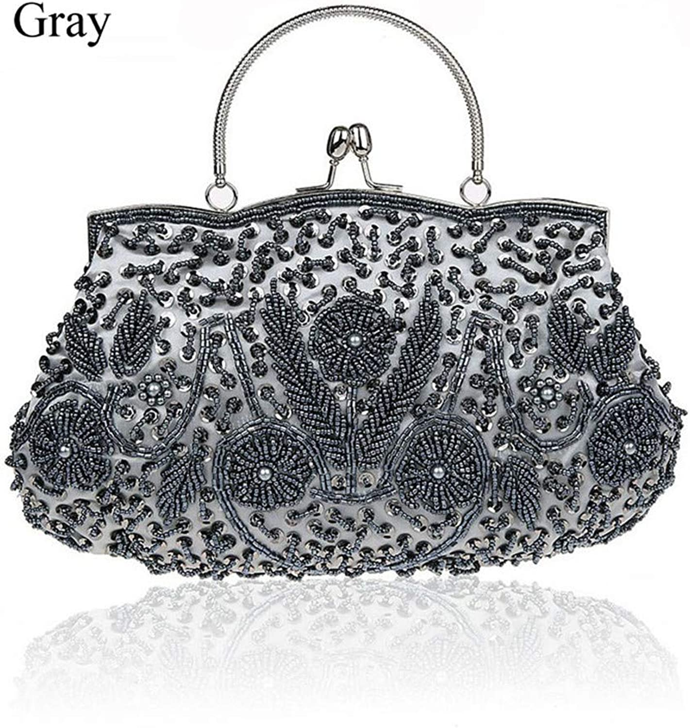 Uekj Clutch Bags Beads Evening Exquisite Ladies Beaded Embroidered Wedding Party Bridal Handbag Wristlet Bolsos Small
