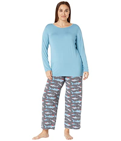 Kickee Pants Plus Size Long Sleeve Loosey Goosey Tee Pants PJ Set (Pewter Santa Sharks) Women