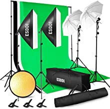 ESDDI Lighting Kit Adjustable Max Size 2.6Mx3M Background Support System 3 Color Backdrop Fabric Photo Studio Softbox Sets...