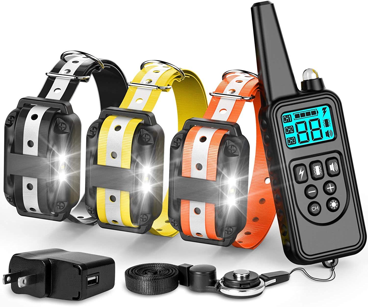Fcolor Dog Training Collar, with Remote 865 Yards Reflective Strap Shock Collar for Dogs, Small Medium Large Dogs Breed, with Light Beep Vibration Shock, Waterproof Dog Shock Collar for 3 Dogs
