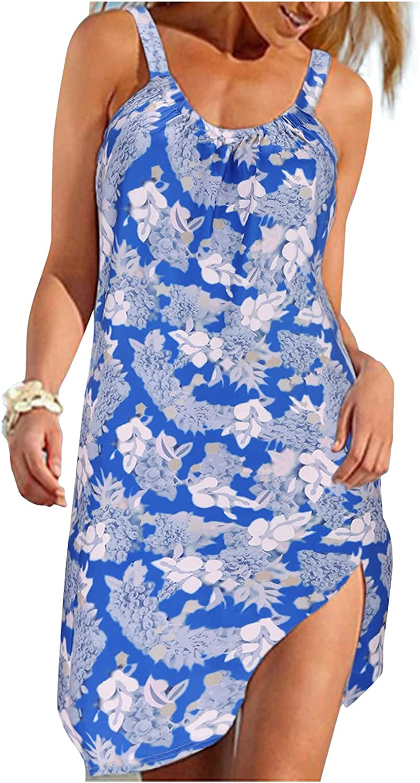 Summer Dresses,Womens Crew Neck Sleeveless Open Back Butterfly Printed Tank Dresses Casual Beach Swing Midi Dress