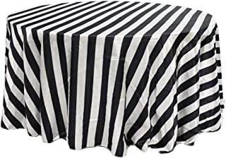 Your Chair Covers - 120 inch Round Satin Tablecloth Black/White Striped, Round Table Linens for 5 ft Round Banquet Tables