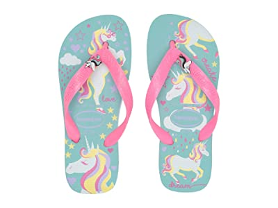 Havaianas Kids Fantasy Flip Flops (Toddler/Little Kid/Big Kid) (Ice Blue/Shocking Pink) Girls Shoes
