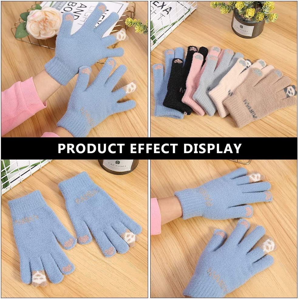 ABOOFAN 1 Pair Winter and Fall Women Touch Screen Warm Gloves Knitted Gloves for Women Party Favor