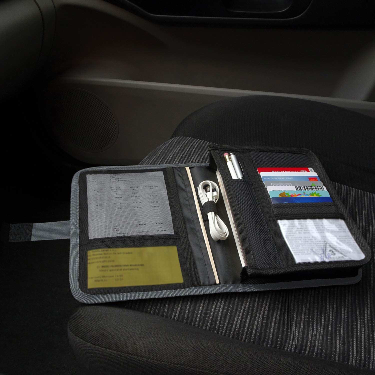 Owner Manual Case Pouch BLACK Vehicle Storage Wallet for Registration /& Insurance Card GRAY BUNDLE Car Document Holder BLUE Glove Box Compartment Organizer