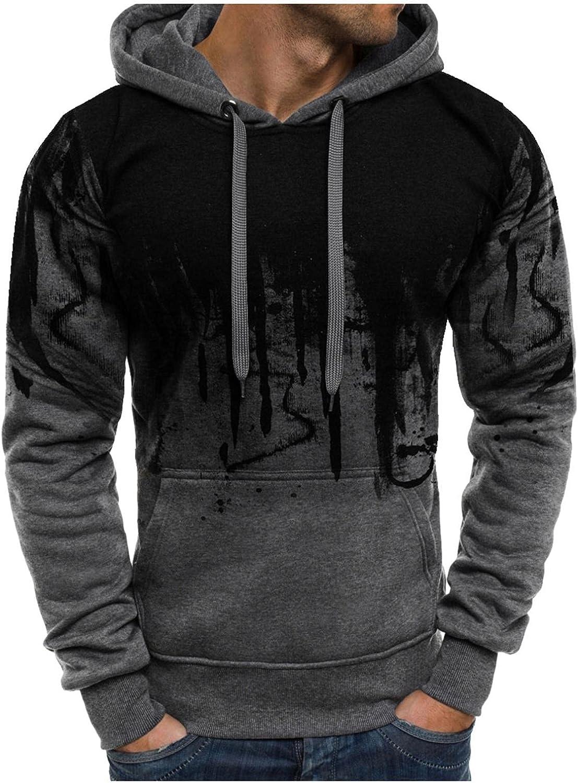 Men's Sweatshirts Ink-Splash Fashion Mens Athletic Hoodies Sport Sweatshirt Long Sleeved Drawstring Gym Pullover