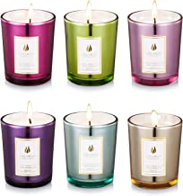 Iwaxlife Scented Candles 100% Natural Eco-Friendly Soy Wax,Flower Fragrance & Essential Oils & Stress Relief,Set Gift of 6