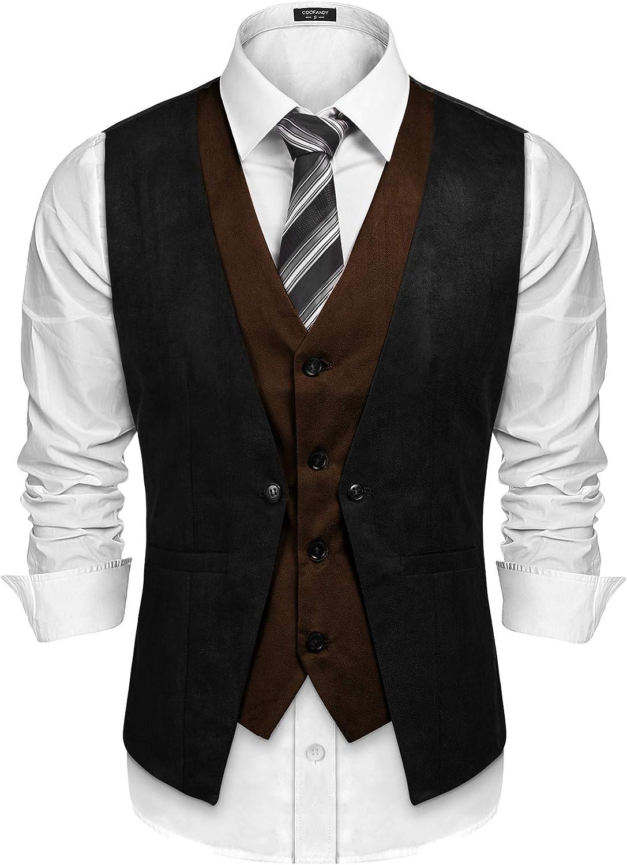 Men's Steampunk Vests, Waistcoats, Corsets COOFANDY Mens Suede Leather Vest Layered Style Dress Vest Waistcoat $31.99 AT vintagedancer.com