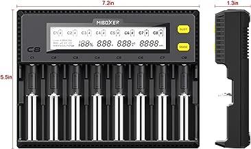 MiBOXER Smart Uniaversal Battery Charger,18650 Battery Charger 8 Bay LCD Display for Li-ion LiFePO4 Ni-MH Ni-Cd AA 21700 20700 26650 18350 17670 RCR123 18700