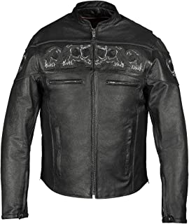 MEN'S REFLECTIVE SKULL COWHIDE LEATHER MOTORCYCLE JACKET (3XL)