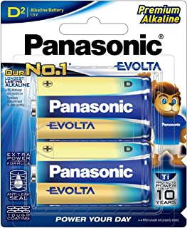 Panasonic EVOLTA Alkaline Battery, D, 2-pack