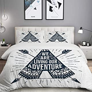 LUNASVT 3PC Bedding Set Adventure Teepee with Arrows Print 1 Duvet Cover with 2 Matching Pillowcases Dorm Room Decor Twin/Twin XL