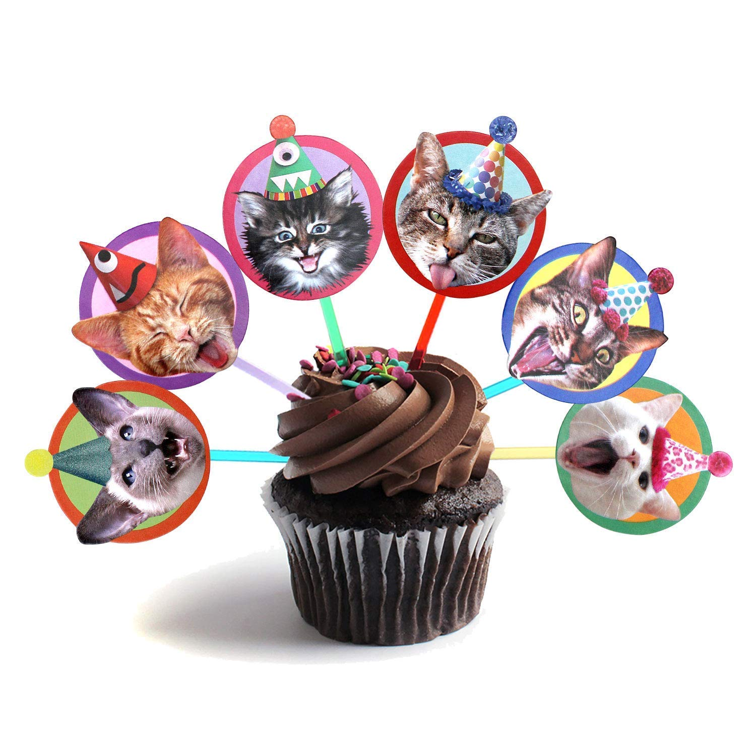 Birthday Cats Cupcake Toppers set of 6 heads Now free shipping cat part San Antonio Mall different