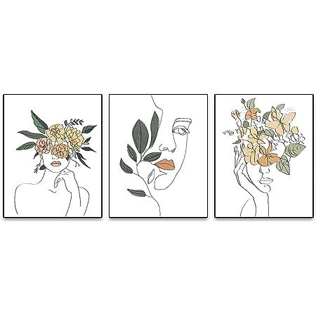 Amazon Com Minimalist Fashion Pop Women Printing Flower Wall Art Painting Set Of 3 8 X10 Canvas Picture Pretty Girl Locker Room Queen Of Woman Poster Room Home Art Painting Bedroom For Home Decor