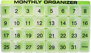 31 compartments, 1 per Day, 4 Week Monthly Pill Organizer by Promed. Includes Tray and 8 Removable compartments. (Green)