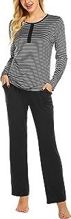 Womens Pajama Set Striped Long Sleeve Sleepwear Soft PJ's Set Pants with Pockets