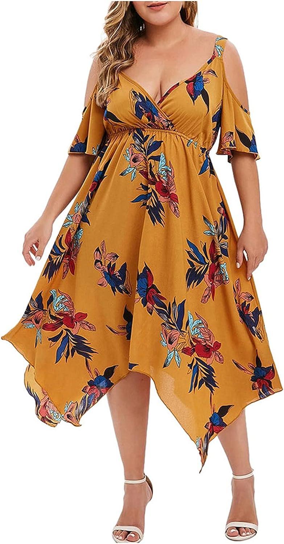 JPLZi Women's Casual Sexy Summer Floral Flowy Asymmetrical Midi Dresses Stretch Waist Cold Shoulder Plus Size Sundresses