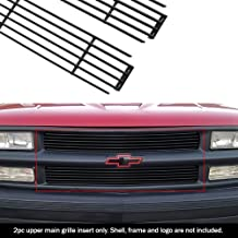 Grille Assembly Compatible with CHEVROLET C//K FULL SIZE P//U 1994-2000//SUBURBAN 1994-1999 Cross Bar Insert Painted-Blk with Dual//Composite Headlight with Sport Package