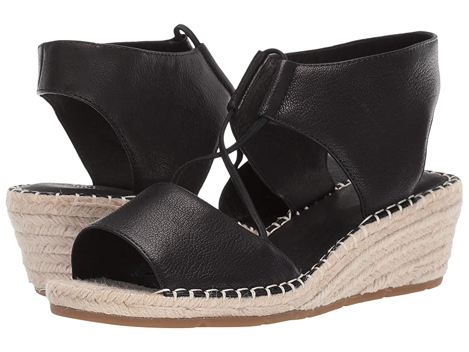 18707cbec Eileen Fisher Agnes (Black Tumbled Leather) Women s Wedge Shoes