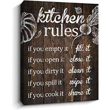 Amazon Com Pigort Kitchen Wall Decor Kitchen Rules Decorations Wall Art Rustic Farmhouse Decor 12 X 15 Inch Brown Posters Prints