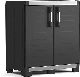 KETER | Armoire Basse XL GARAGE, Noir, 89 x 54 x 99 cm, Plastique