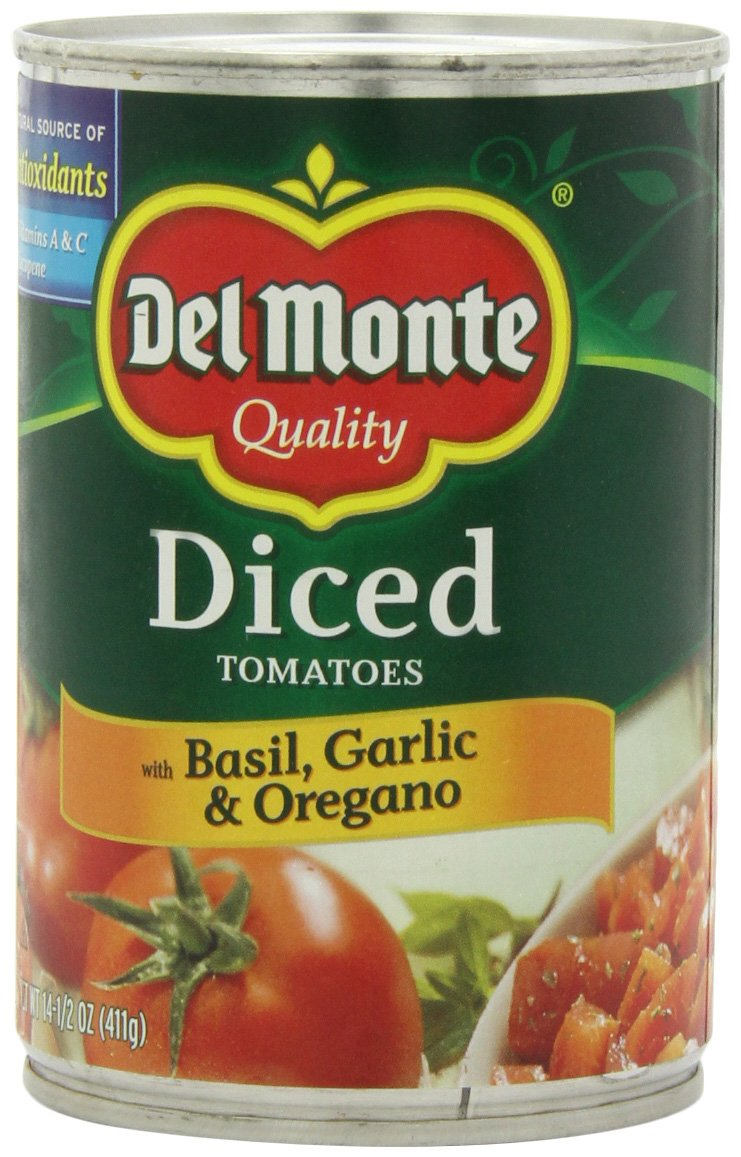 Del Monte Diced Tomatoes Basil Max 57% OFF Oregano Soldering 14.5-Ounce Garlic and